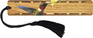 product image for Mitercraft Ruby-Throated Hummingbird (Double-Sided) Wooden Bookmark with Tassel - Also Available Personalized