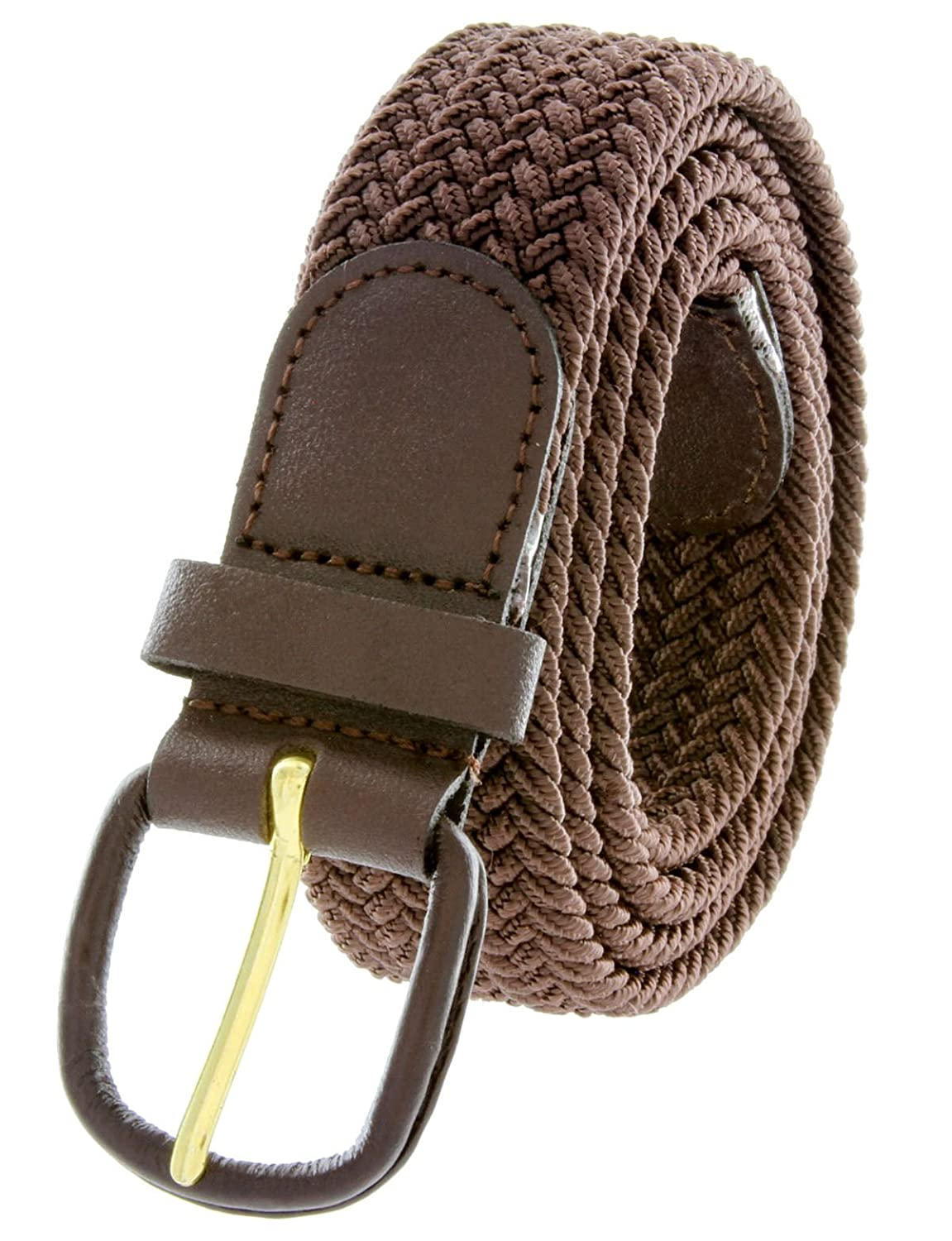Brown Leather Covered Buckle Woven Elastic Stretch Belt BSC
