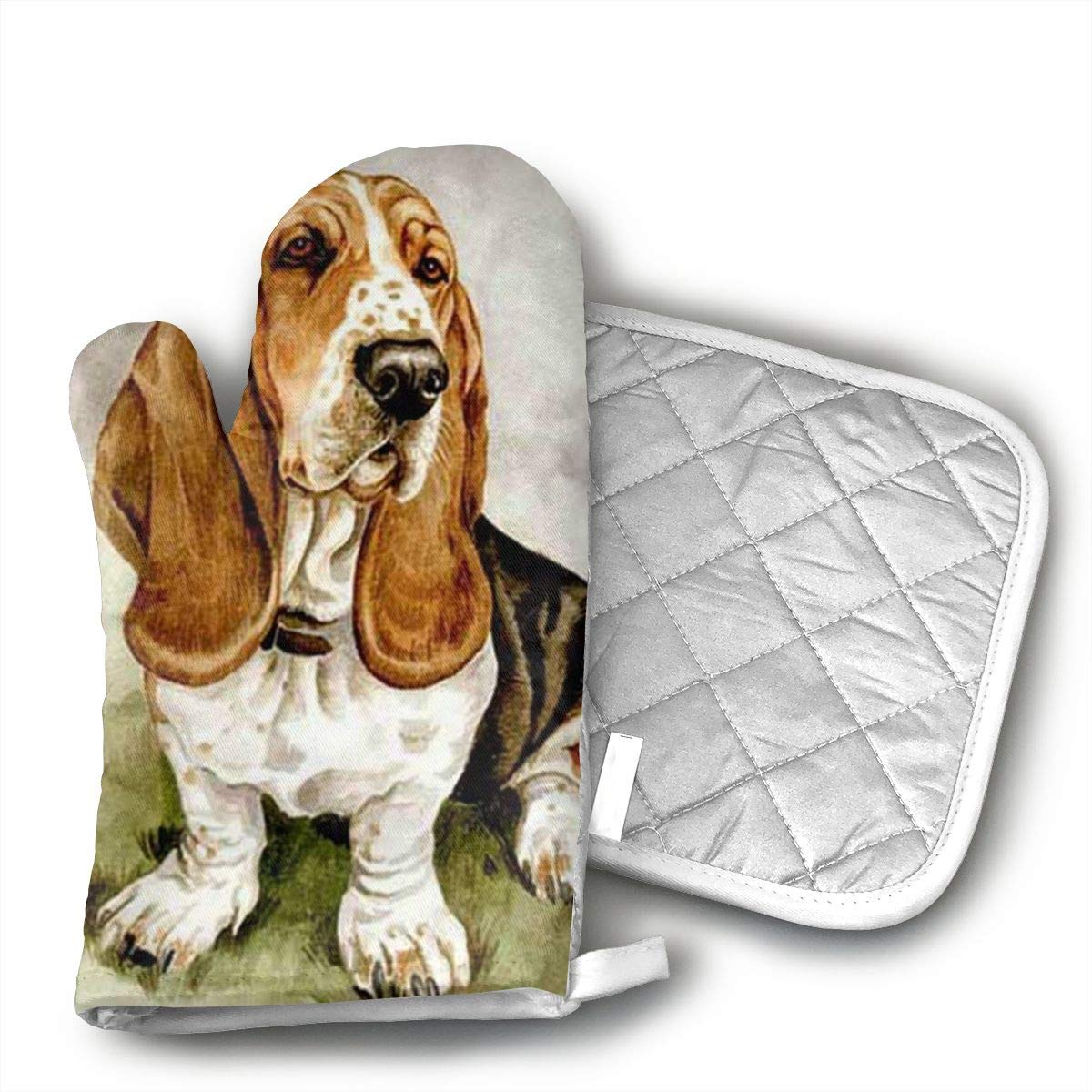 Wiqo9 Basset Hound Oven Mitts and Pot Holders Kitchen Mitten Cooking Gloves,Cooking, Baking, BBQ.