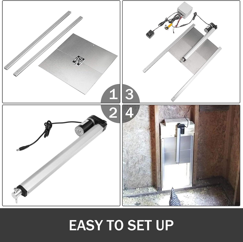 LOVSHARE - Kit de abridor automático de Puerta de gallinero con Sensor de luz, Puerta de gallinero con Sensor de Infrarrojos, abridor automático de Puerta de gallina con inducción infrarroja: Amazon.es: Jardín