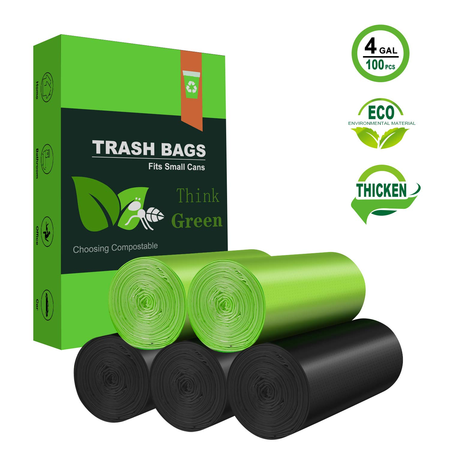 Biodegradable Garbage Bags,4-6 Gallon Small Trash Bags,100 Counts Small Garbage Bags Leak Proof Compostable Bags Wastebasket Liners for Office,Home,Bathroom,Bedroom,Car,Kitchen,Pet(Green+Black) Price: $12.59