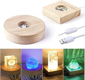 LED Lights Display Base LET'S RESIN 2PCS Wooden Lighted Base Stand for Laser Crystal Glass Resin Art