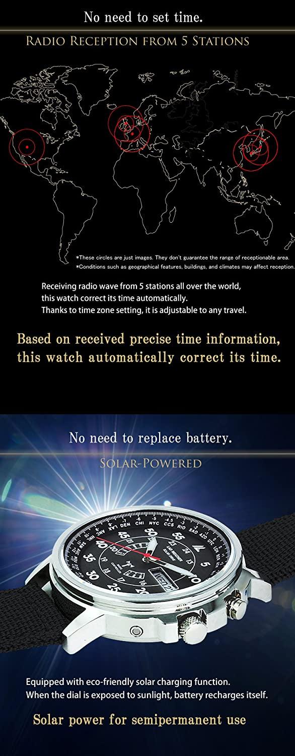 Lad Weather Radio Controlled Watch Solar Powered Perpetual Day Date Calendar Multi Timezone Military Business Travel All Black