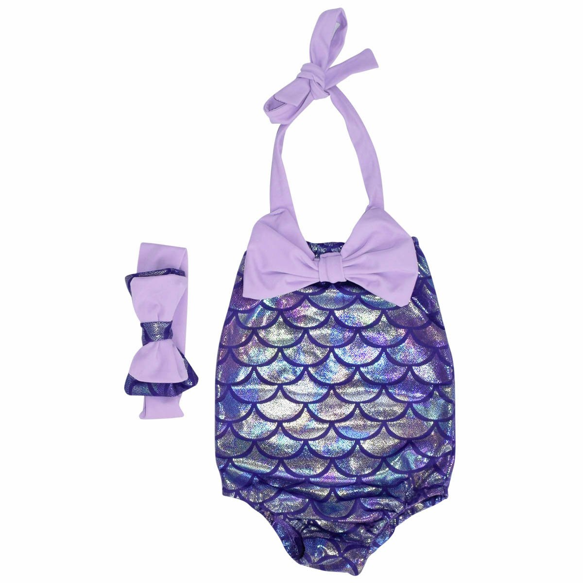 Unique Baby Girls Mermaid Scale Bathing Suit and Headband