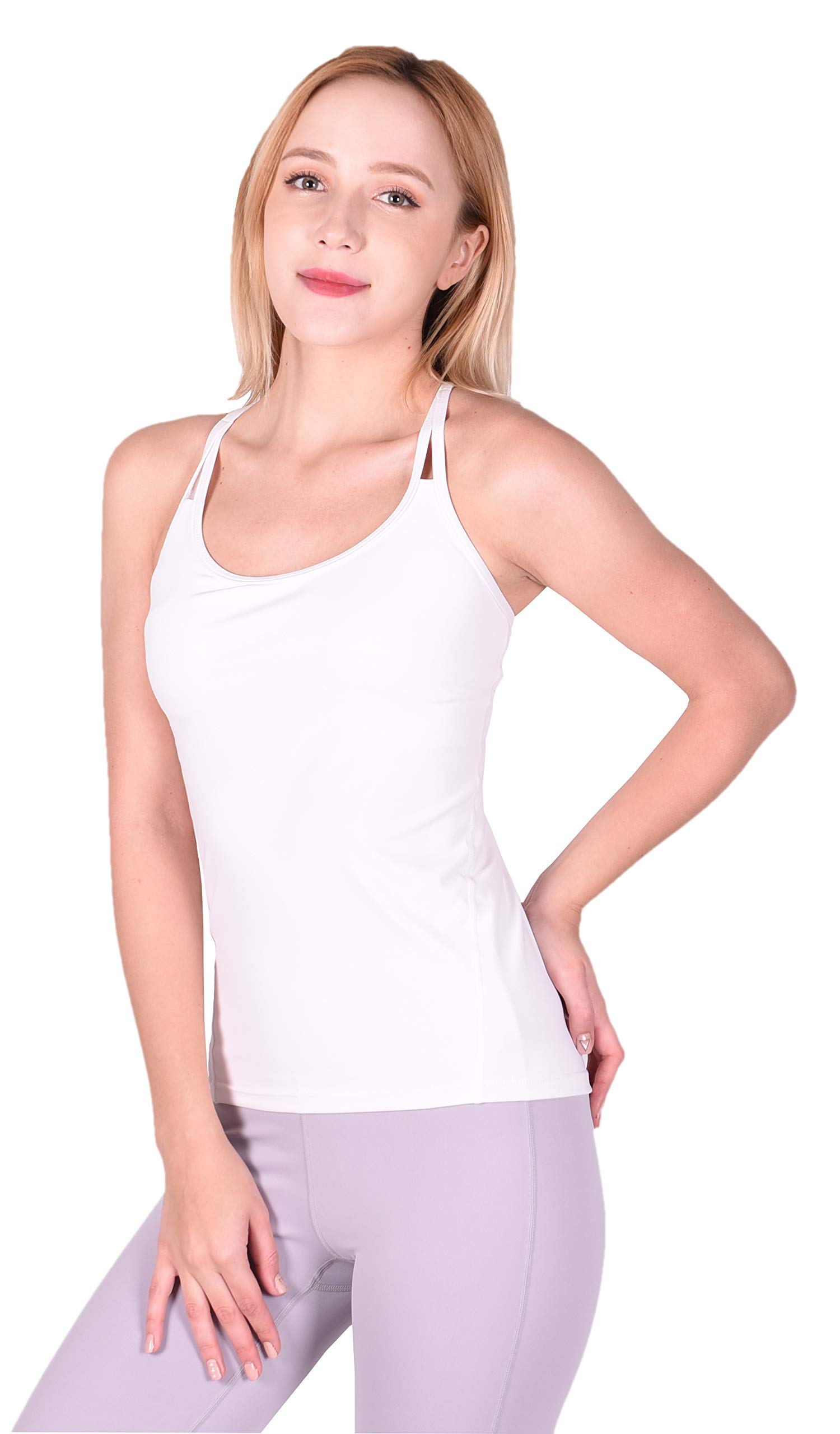 Private Island Women Back String Tankini Top (L, White) by Private Island