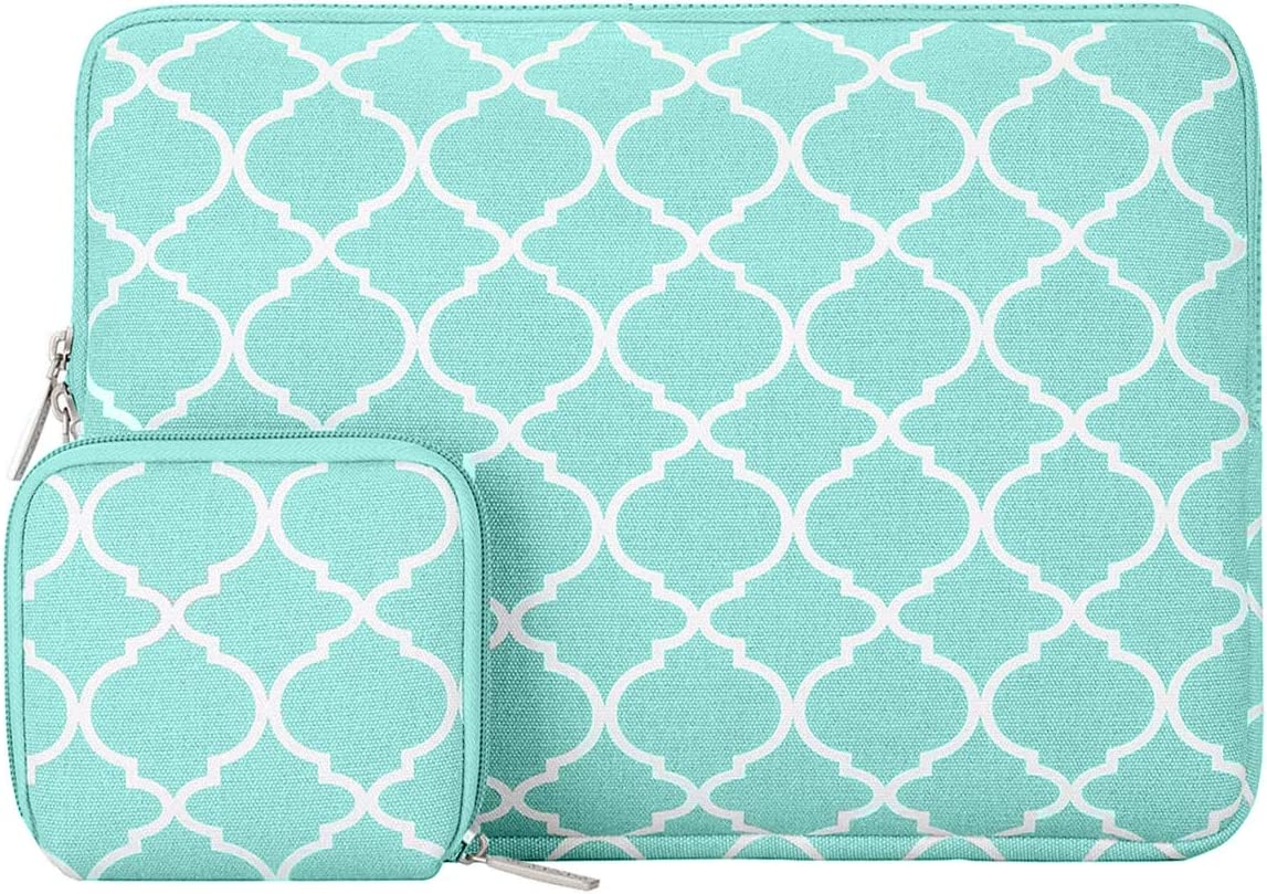 MOSISO Laptop Sleeve Compatible with 2019 MacBook Pro 16 inch Touch Bar A2141, 15-15.6 inch MacBook Pro Retina A1398 2012-2015, Notebook, Canvas Quatrefoil Bag Cover with Small Case, Hot Blue