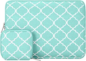 MOSISO Laptop Sleeve Compatible with 2018-2020 MacBook Air 13 inch A2179 A1932, 13 inch MacBook Pro A2251 A2289 A2159 A1989 A1706 A1708, Canvas Quatrefoil Bag Cover with Small Case, Hot Blue