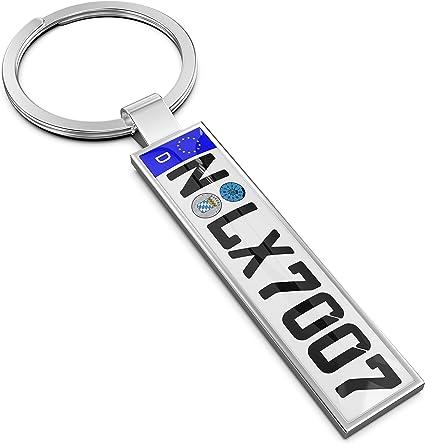 Persize - Llavero personalizable mini matrícula de coche, plata ...