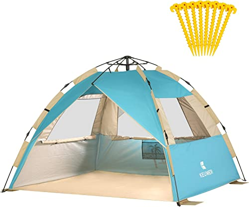 Gorich Easy Set Up Instant Beach Tent with SPF UV 50 Protection, Beach Sun Shelter Canopy Cabana for Family Trip, Portable 4 Person POP UP Beach Umbrella Beach Shade for Camping Sports Fishing