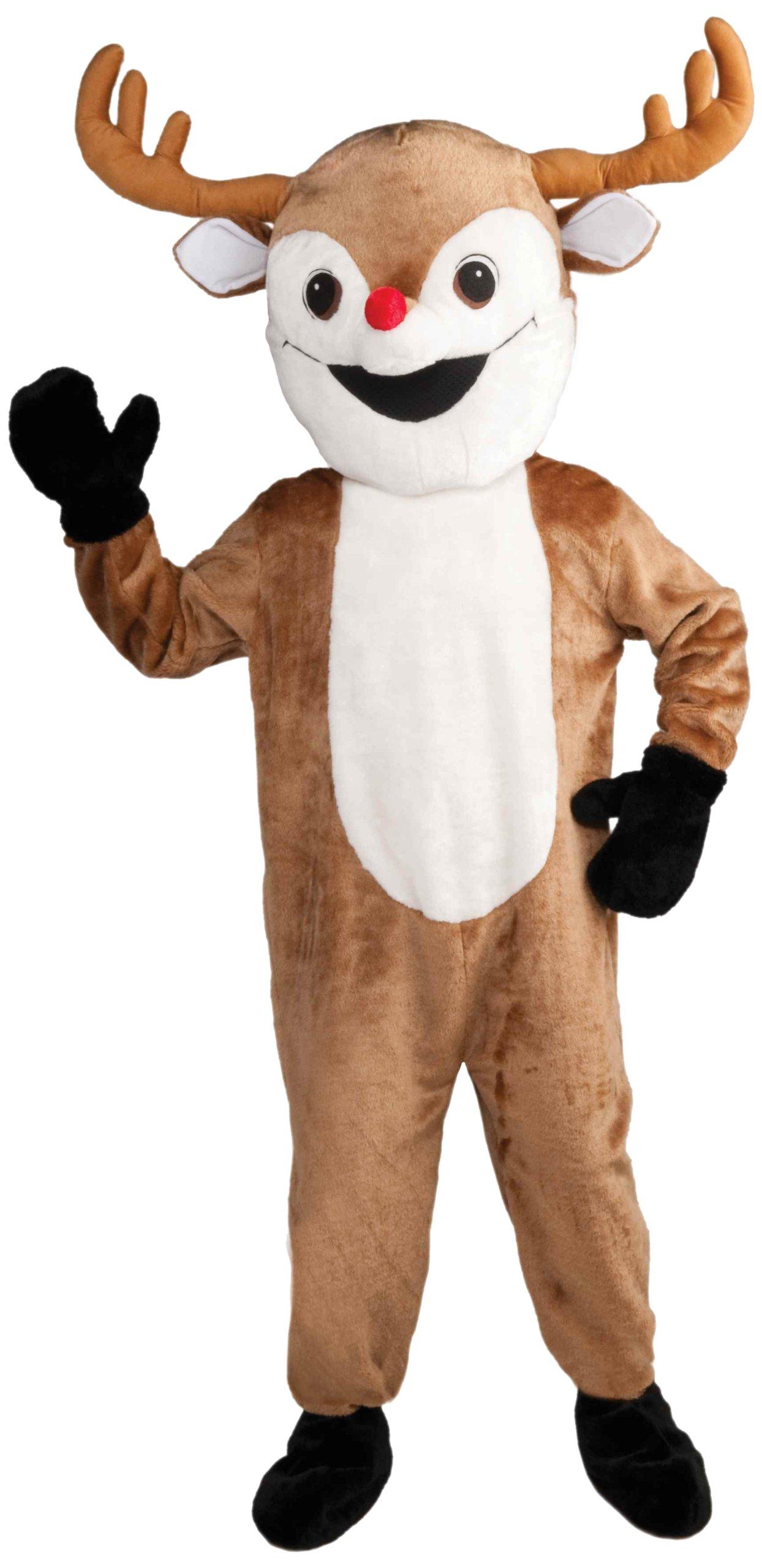 Forum Novelties Men's Deluxe Reindeer Mascot Adult Costume, Brown, Standard