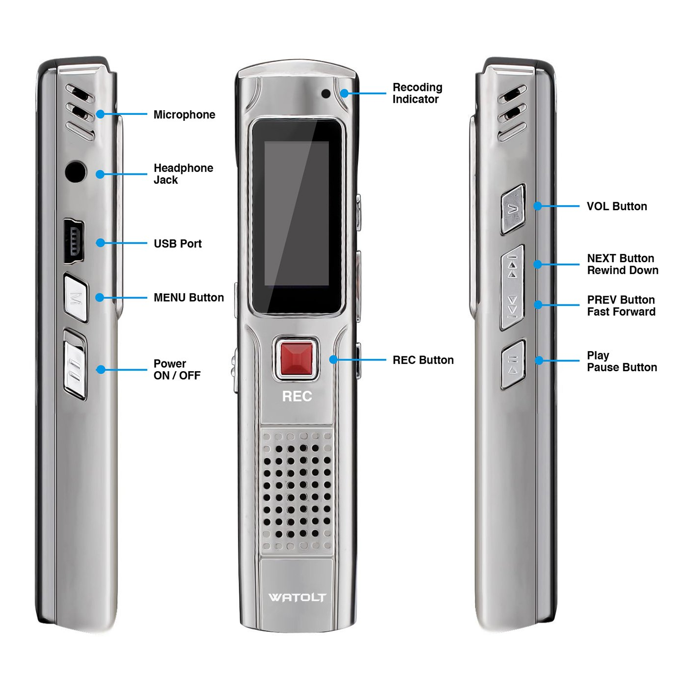 Digital Voice Recorder Rechargeable Dictaphone - MP3 Player - 25 Hours USB Audio Recordable Pen - for Students College Lectures (8GB) by Watolt (Image #2)