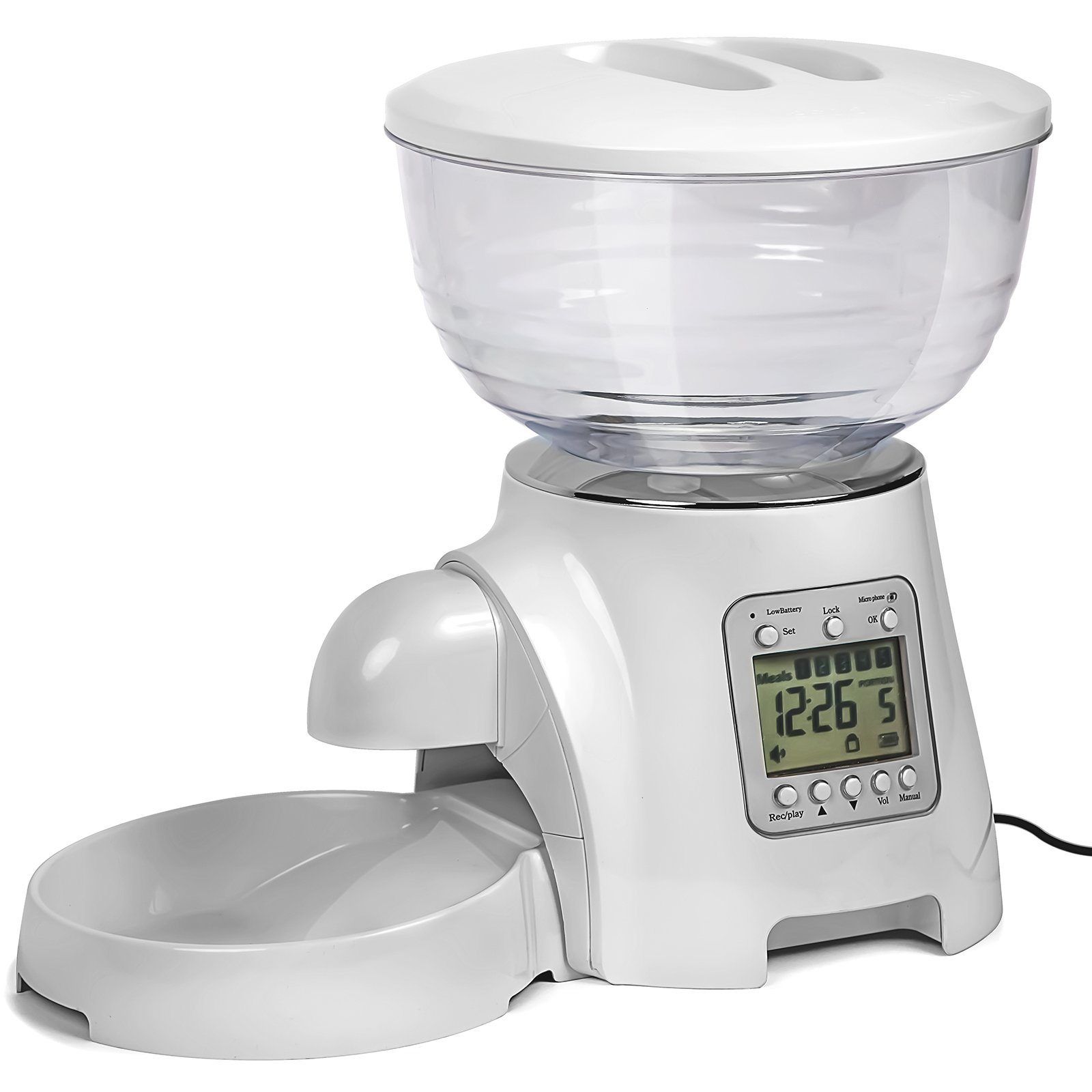 Paws & Pals Automatic Electronic Timer Programmable Dog Feeder for Large to Small Dogs - White