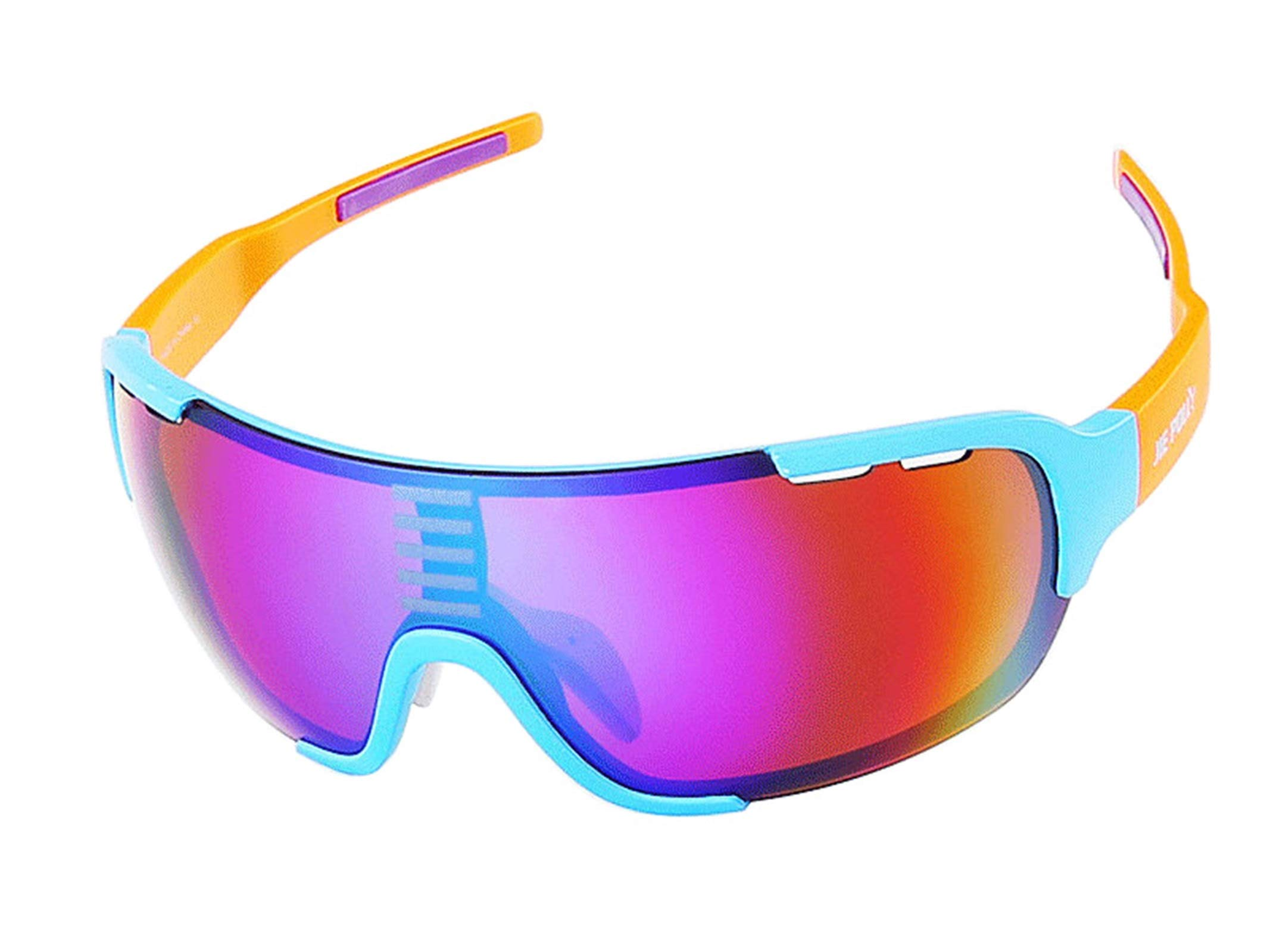 Adisaer Cycling Sunglasses Youth Cycling Color Changing Sports Fishing Outdoor Hiking Goggles Blue Orange for Adults