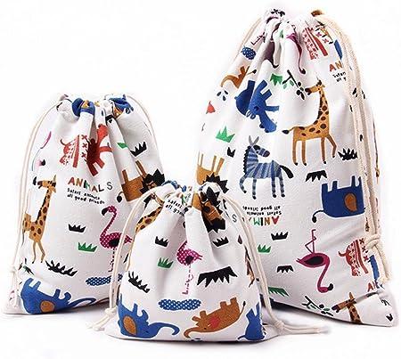 El juego incluye 3 bolsas cordones de abaría, medianos de 27 x 30 cm (lxal), pequeños de 19 x 23 cm,