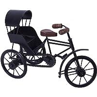 CLASSIC SHOPPE Wooden and Wrought Iron Miniature Rickshaw, Black