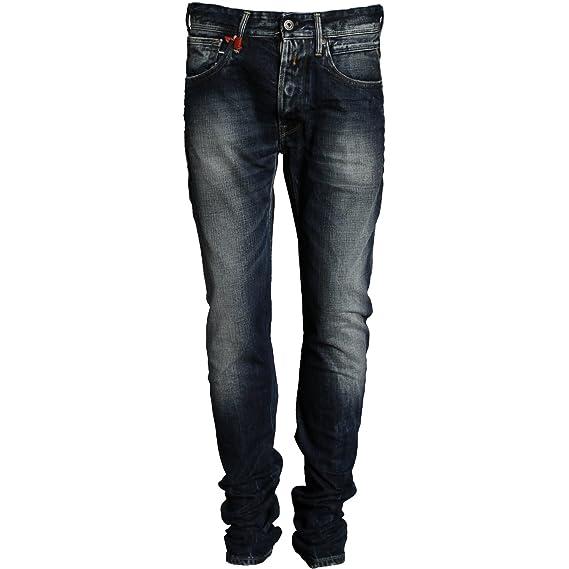 f93e5c5b Replay Slim Leg Jeans AROTT LOW CROTCH 12.5 OZ FLAT FINISH DENIM, Color:  Blue, Size: 28/32: Amazon.co.uk: Clothing