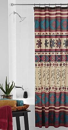 Southwest Fabric Shower Curtain Southwestern Anasazi Kokopelli Aztec Bath Decor Decorations