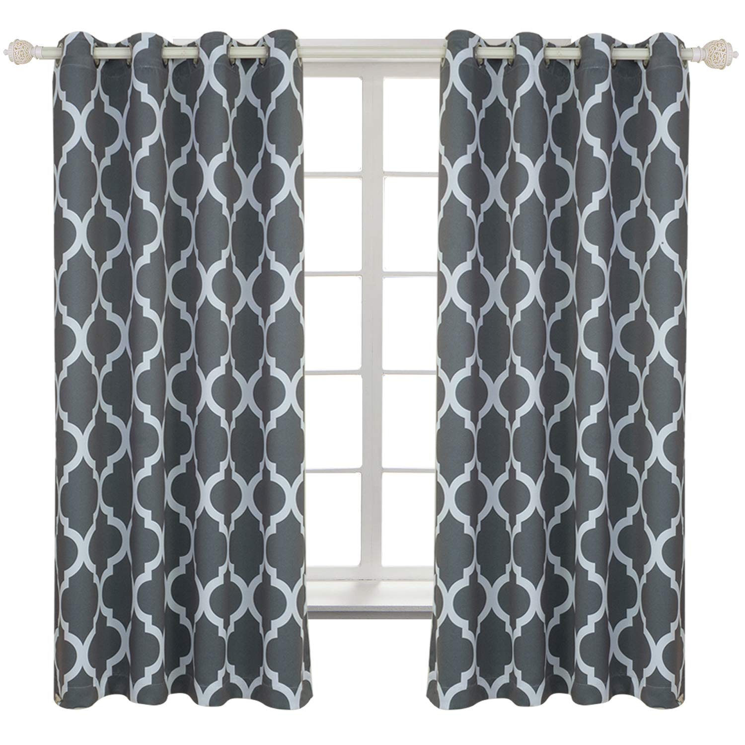 BGment Kids Blackout Curtains 42 x 63 Inch, Greyish White Set of 2 Curtain Panels Grommet Thermal Insulated Room Darkening Printed Car Bus Patterns Nursery and Kids Bedroom Curtains