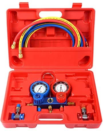 Goplus AC A/C Manifold Gauge Set for R134A Refrigerants 6FT Colored Hose Air Conditioner
