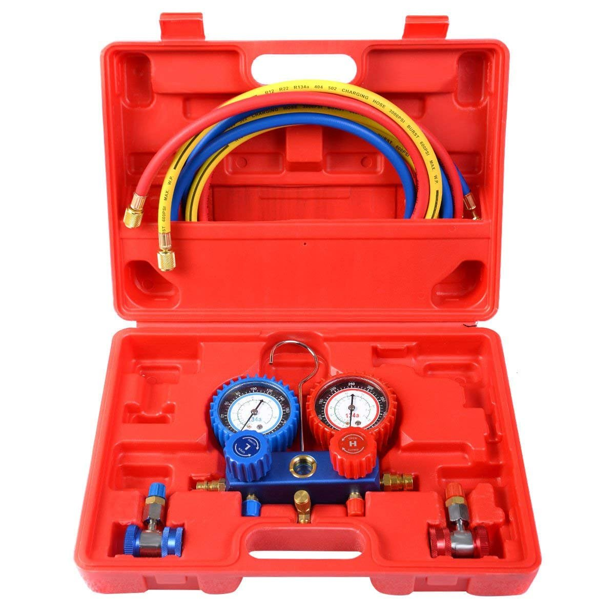 Goplus AC A/C Manifold Gauge Set for R134A Refrigerants 6FT Colored Hose Air Conditioner Freon Maintenance w/Hoses Coupler Adapters