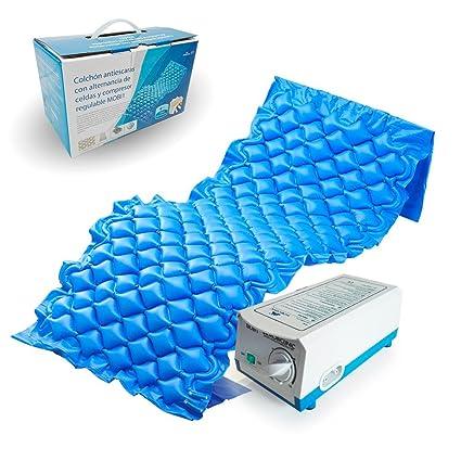 Colchón antiescaras de aire, Con compresor, PVC médico ignífugo, 200 x 90 x 7, 130 celdas, Azul, Mobi 1, Mobiclinic
