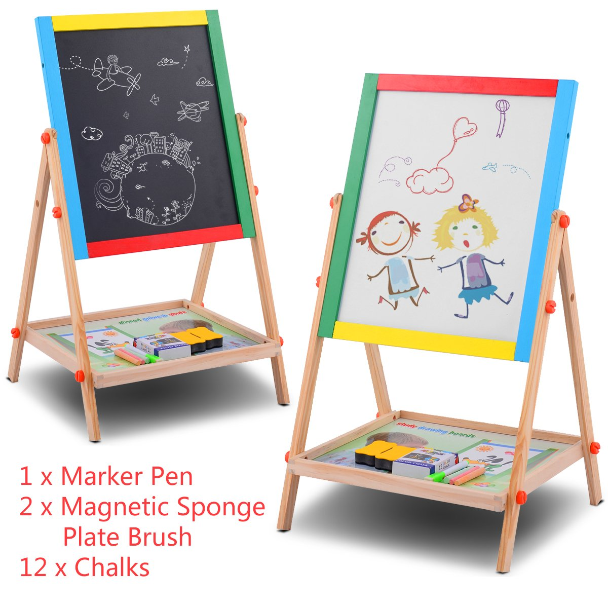 YARMOSHI My First Wooden Drawing Board Easel Double Sided Adjustable |  Chalk Blackboard U0026 White Dry ...