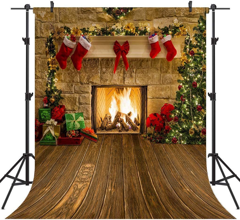CdHBH 10x12ft Christmas Photography Cloth Simple Style Christmas Fireplace Theme Christmas Tree Socks and Party Gifts Decoration Party Supplies Festival Venue Party Arrangement