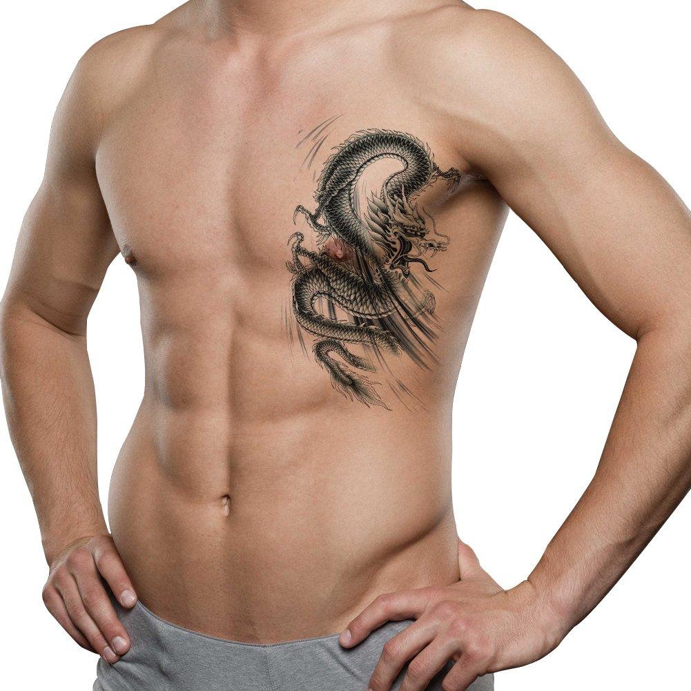 TAFLY Men Lower Back, Shoulder, Arm Temporary Tattoos - Lagre Dragons Body Art Transfer Tattoos Sticker Black 3 Sheets