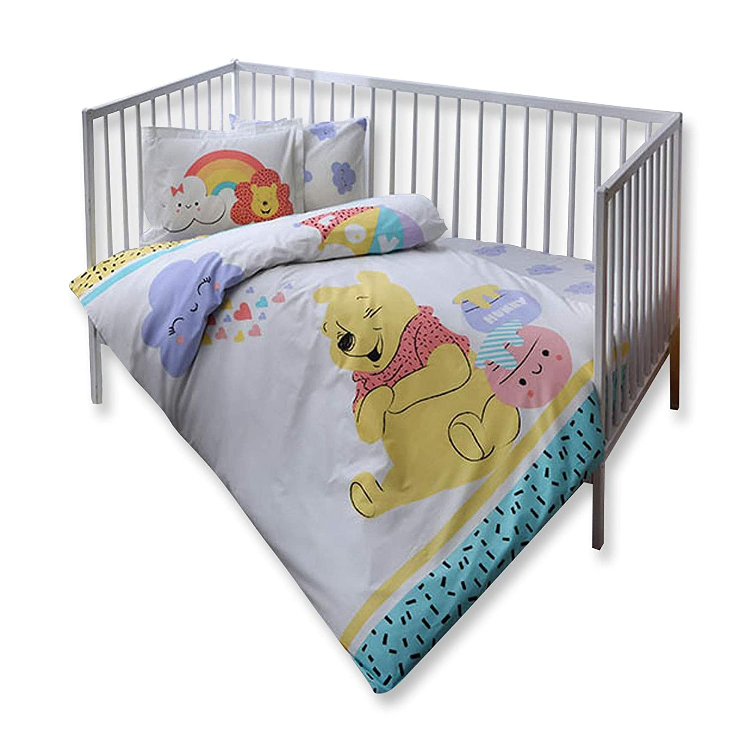 100% Organic Cotton Soft and Healthy Baby Cot Bed Duvet Cover Set 4 Pieces, Winnie The Pooh Hunny Officially Licensed Bedding Set TAC