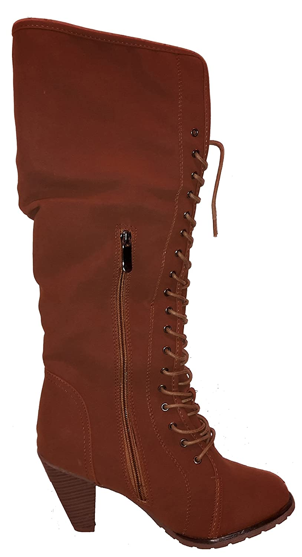 Sehr Sehr Sehr hohe Stiletto High Heels Winterstiefel mit Fell in topmoderner Optik. Beige oder braun Damenschuhe STI135 Schuhe für Damen. Sehr hohe gefütterte Stiefel echte Hingucker-Schnürstiefel. 0d71e0
