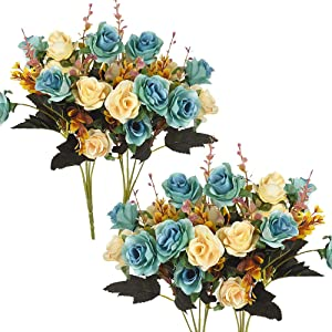 Moomass Artificial Flowers. 4 Bunches of Artificial Roses. 48 Small Roses. Plastic Silk Flower, Suitable for Plant Decoration of Family Hotel Wedding Christmas Office Table.(Peacock Blue)