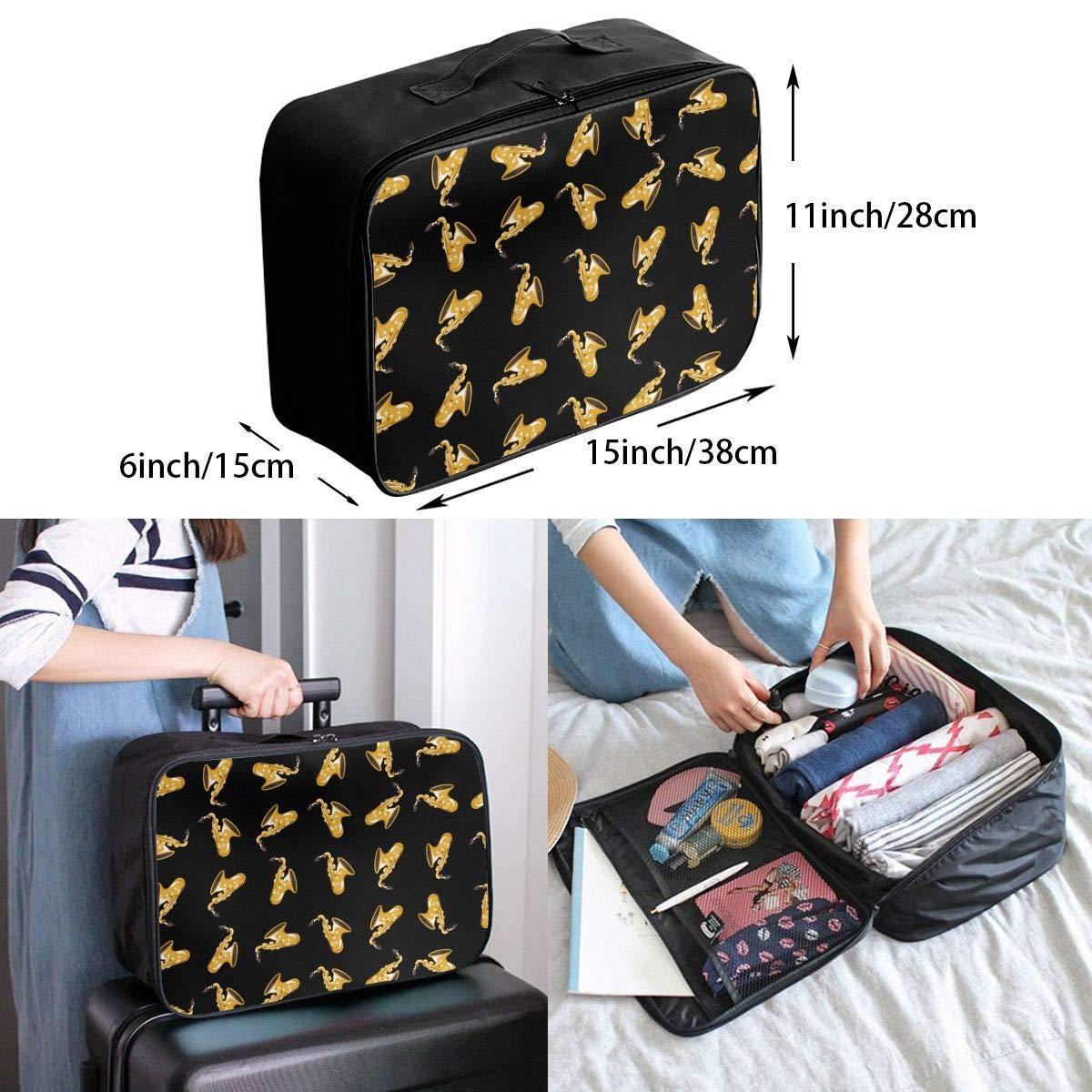 Travel Duffel Bag Waterproof Fashion Lightweight Large Capacity Portable Luggage Bag Music Saxophone Cartoon Black