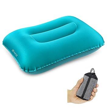 SKL Almohada de Camping Inflable Ultraligero portátil Almohada ergonómica cojín de Aire para el Saco de Dormir Viaje al Aire Libre Mochila Compresible ...