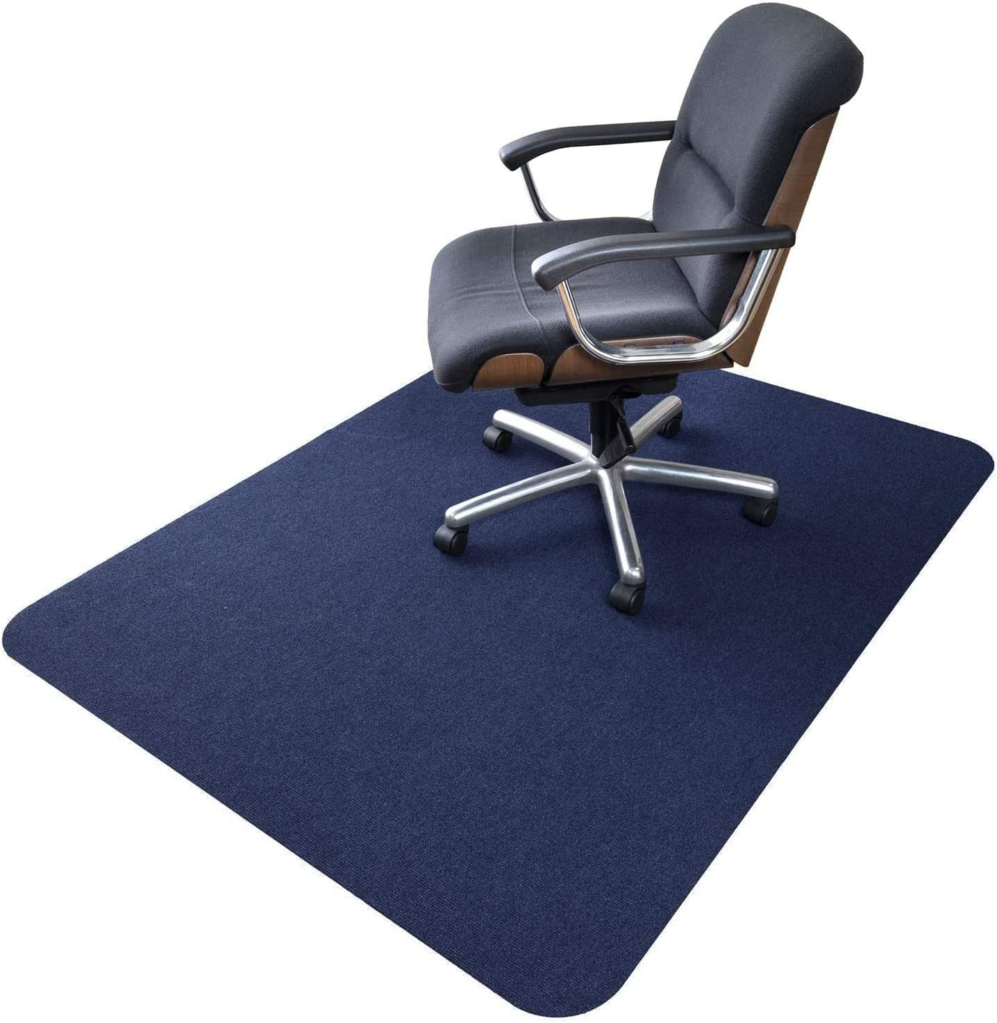 Amazon Com Office Chair Mat Upgraded Version Hard Floor Mat For Desk 1 6 Thick 63 X51 Low Pile Office Desk Chair Mat For Hardwood Floors Multi Purpose Protector Chair Carpet For Home Dark Blue