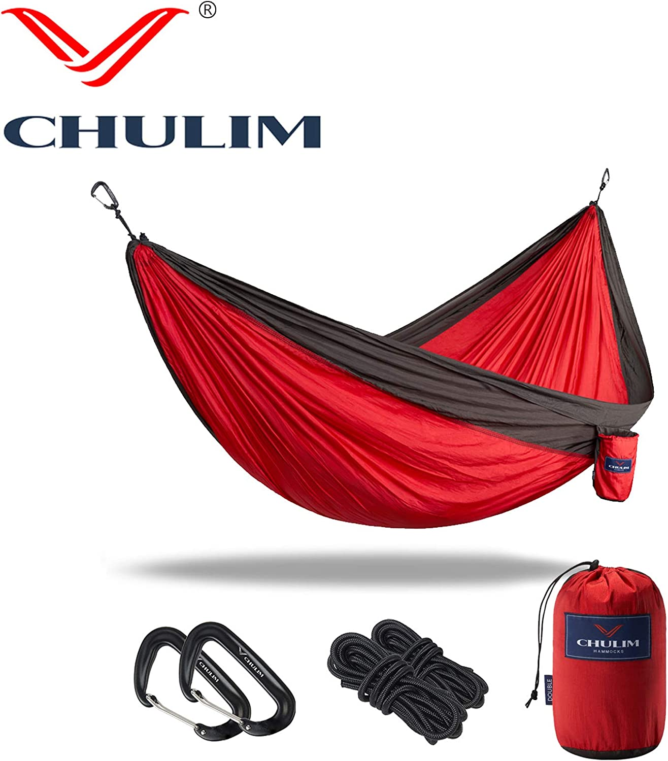 CHULIM Double Camping Hammock with Tree Hanging Kit and 12kn Aluminum Wiregate Carabiner. 118 L x 78 W,Lightweight Portable Camping Gear.Parachute Nylon Hammock for Camping,Travel,Backpacking,Beach.
