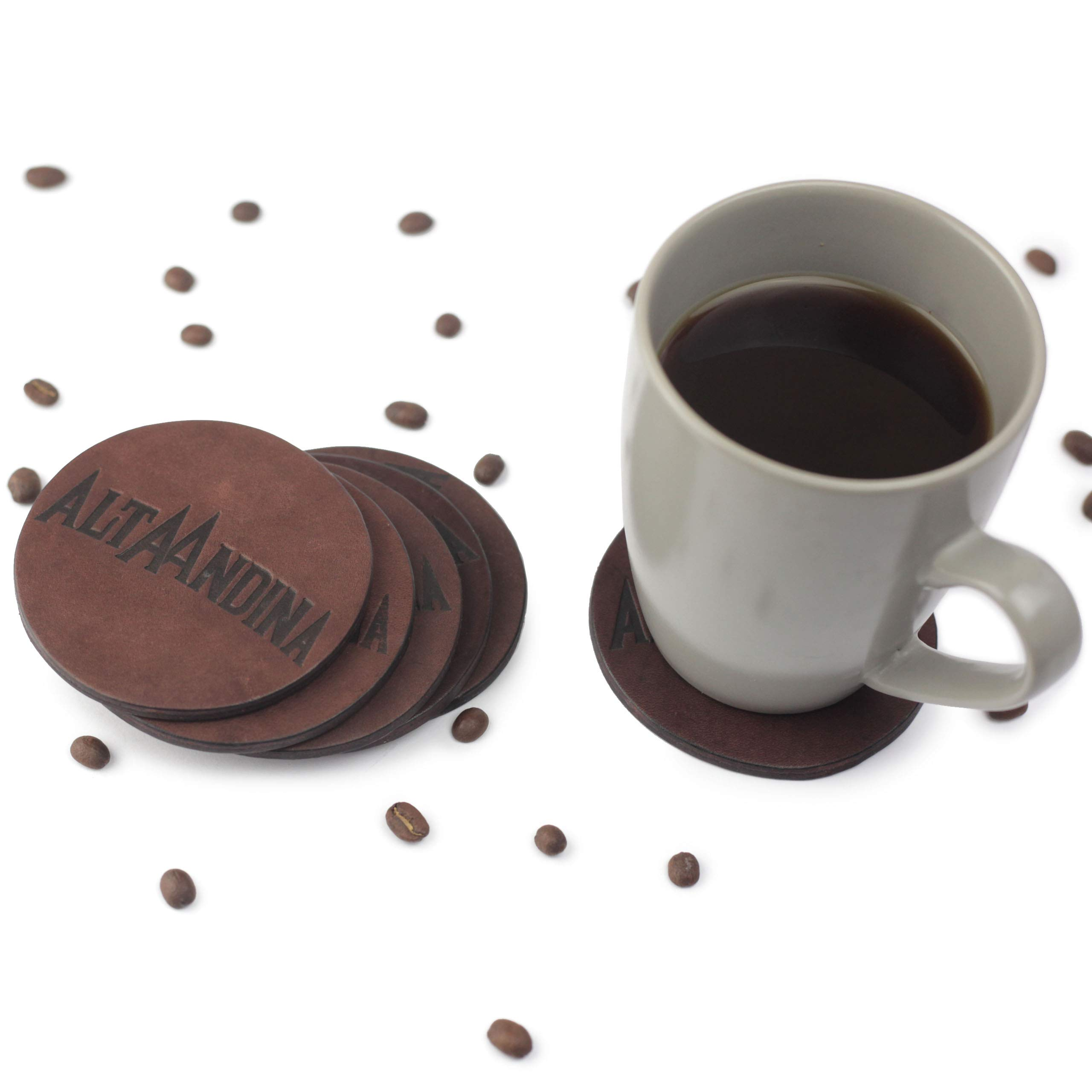 Alta Andina Leather Coasters | Round Magnetic Coaster – Ditch the Holder | Set of 6 | Full Grain, Vegetable Tanned Leather (Brown – Café)