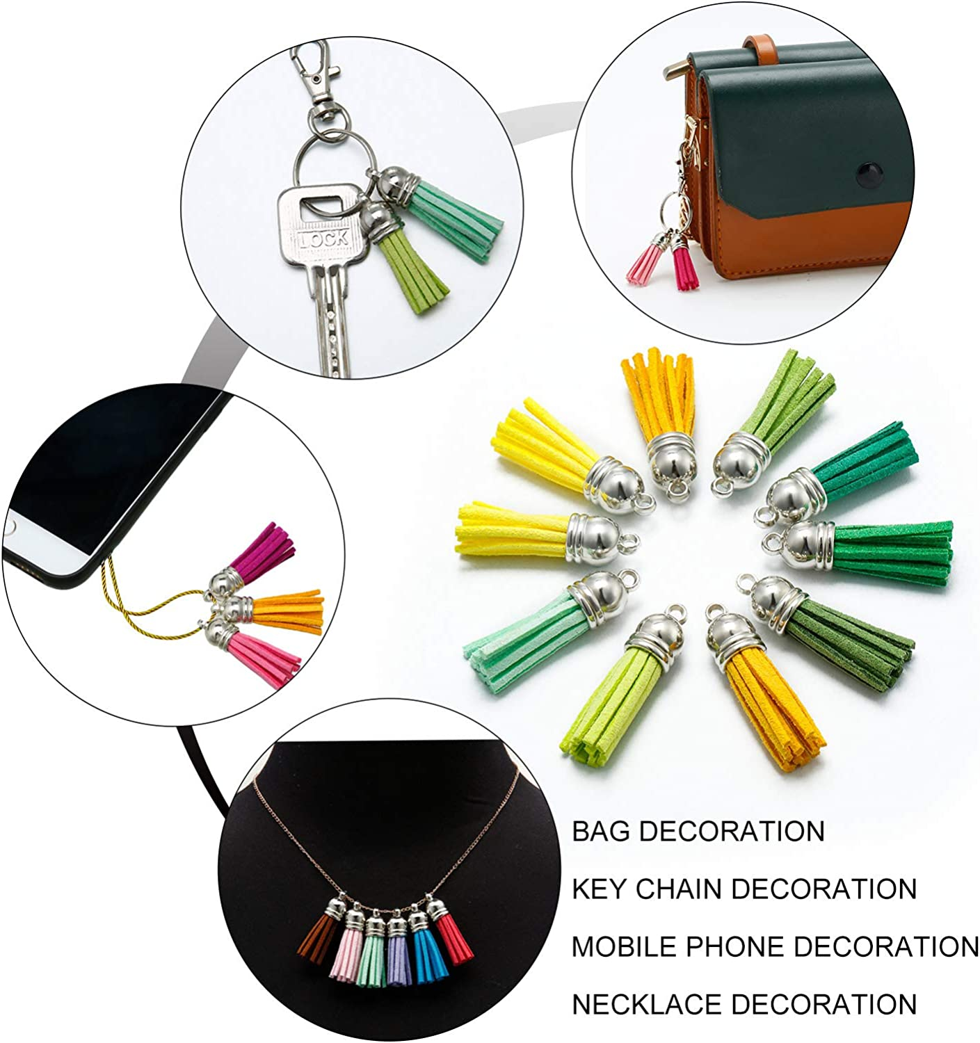 0.4 in, 50 Pieces Leather Tassel Keychain Set in 25 Colors