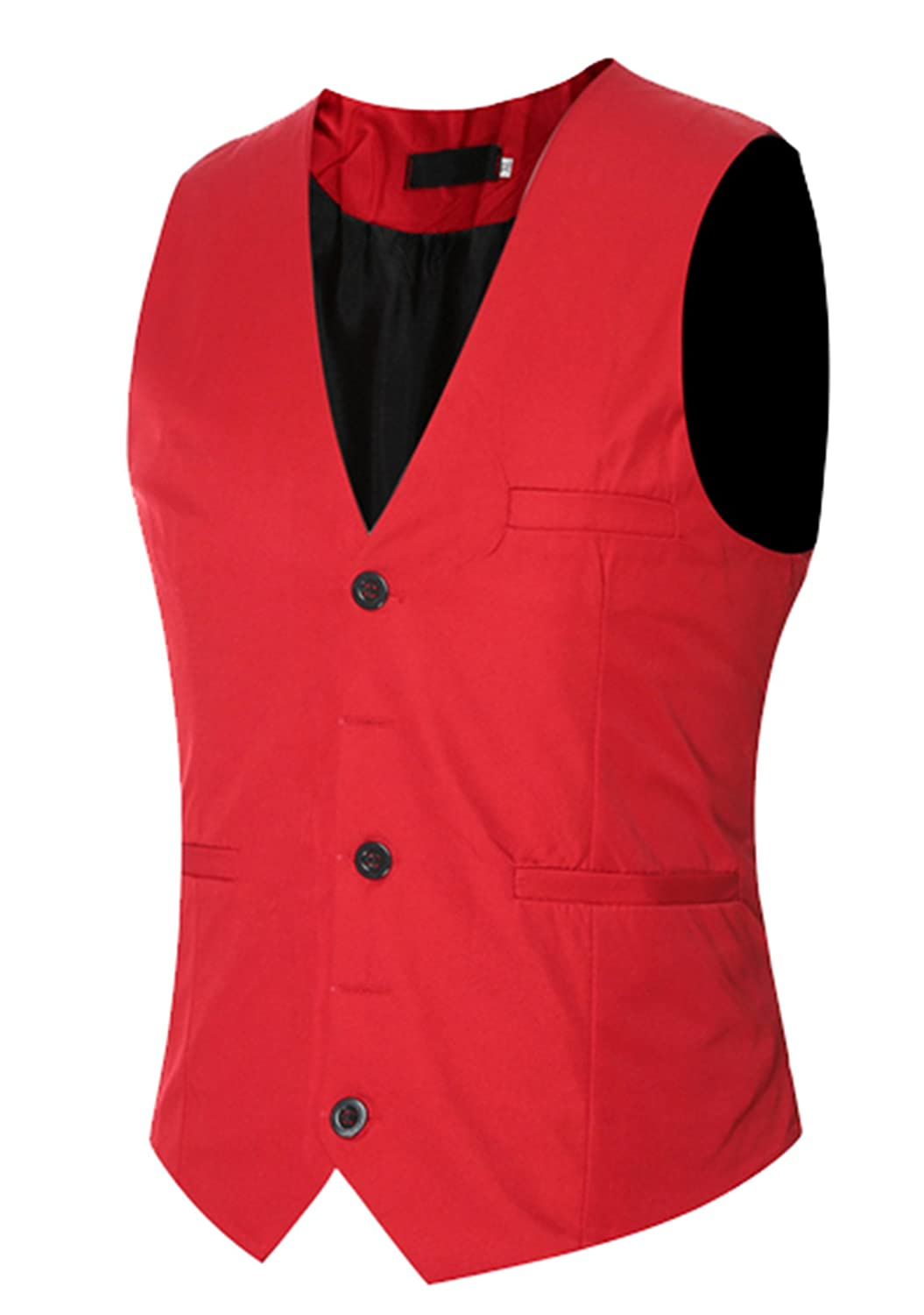 DD.UP Men's Slim Basic Solid Color Wedding Dress Vest Waistcoat Blazer