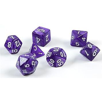 shibby 7 Dados poliédricos en púrpura para Juegos de rol y Mesa ...