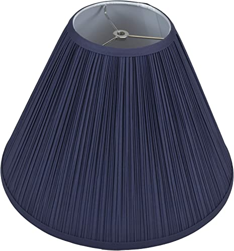 FenchelShades.com Lampshade 6 Top Diameter x 16 Bottom Diameter x 12 Slant Height with Washer Spider Attachment for Lamps with a Harp Pleated Navy Blue