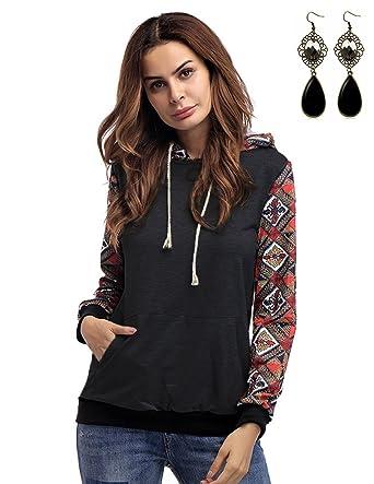 Sweat Queen À Sweater M Imprimé Femme Capuche Chic Shirt Aztèque qqtOwng1