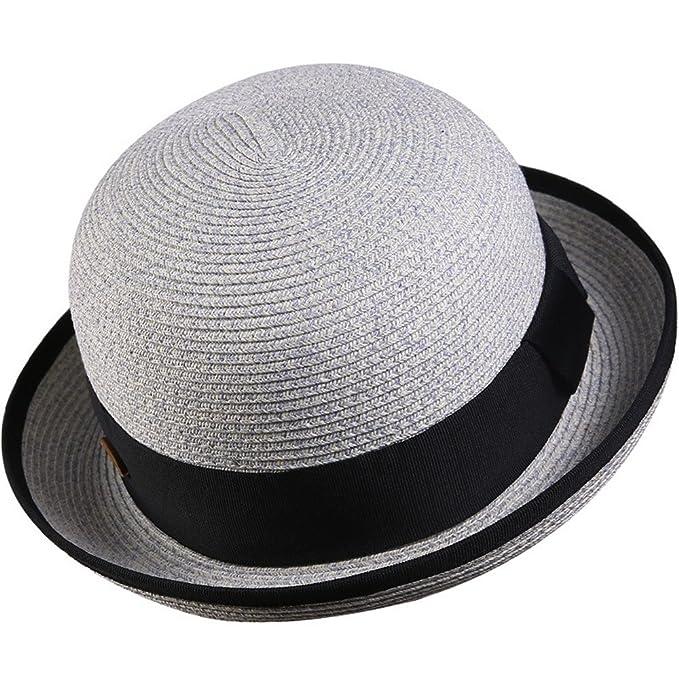 Sombreros Bombín Paja Mujer Chicas Verano Clásico Sombrero de Sol Gris A   Amazon.es  Ropa y accesorios d660f512c24