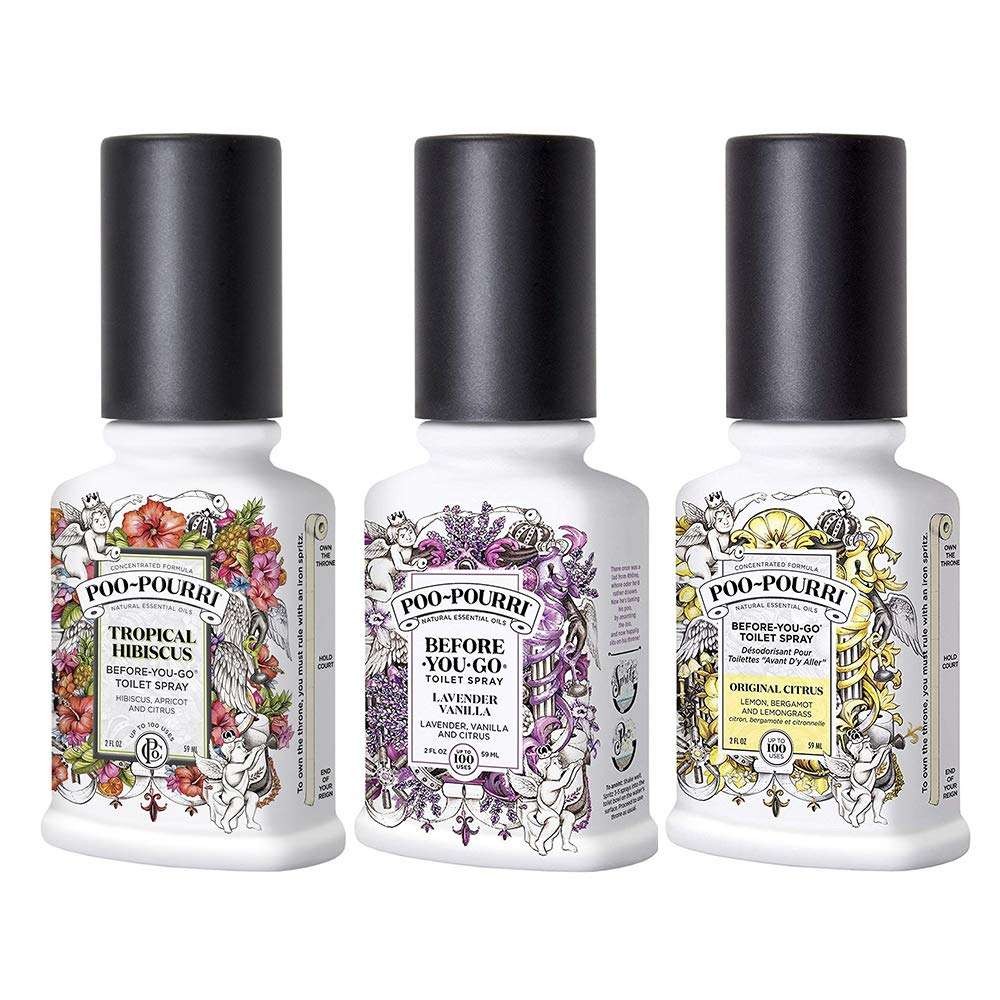 Toilet Spray Original Citrus, Lavender Vanilla, and Tropical Hibiscus 2 Ounce Set by Toilet Spray