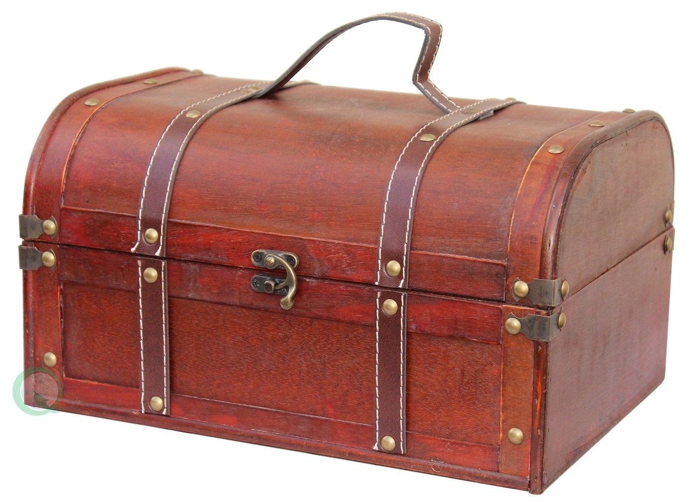 Vintiquewise(TM Decorative Wood Treasure Box - Wooden Trunk Chest by Vintiquewise