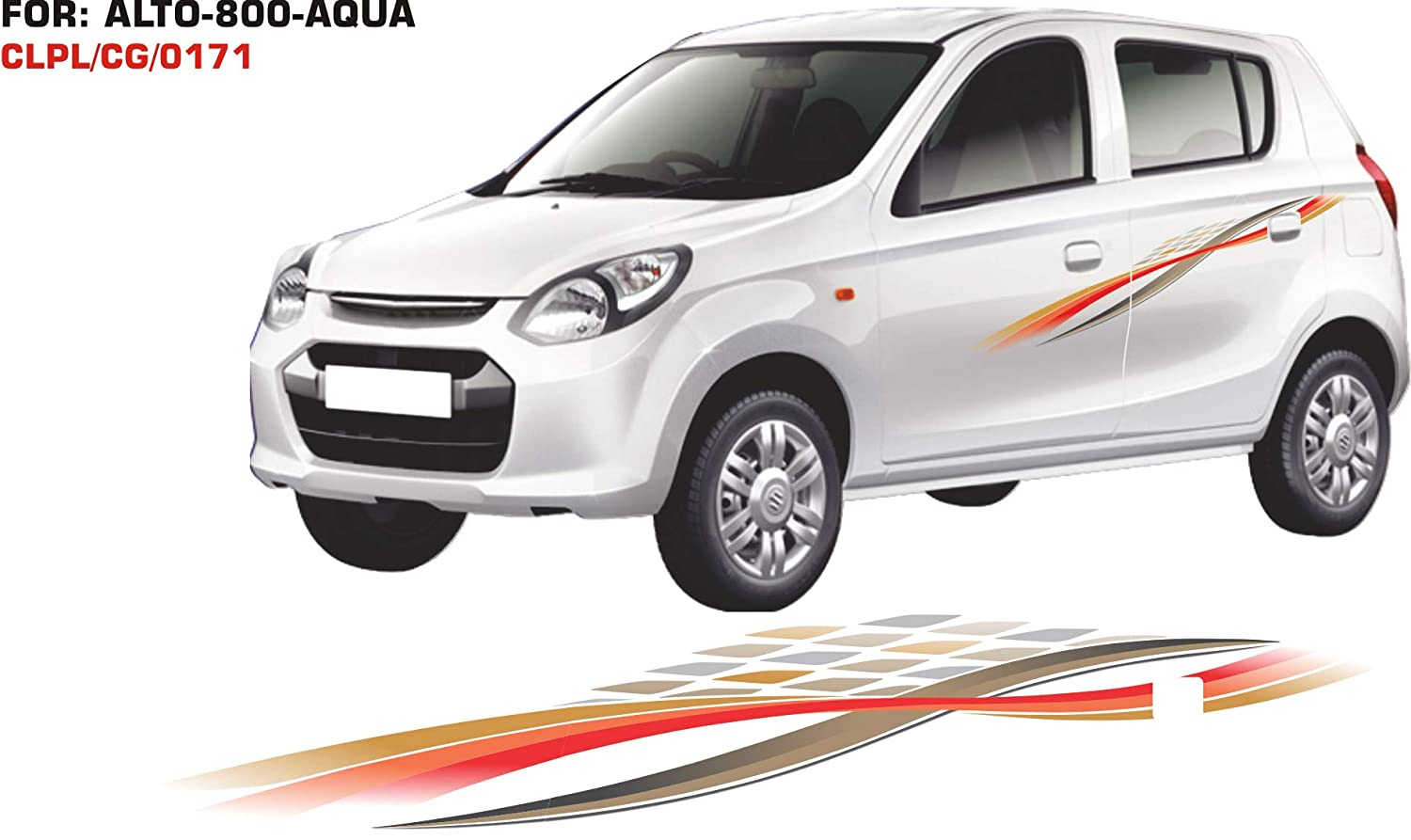 Automaze quara car side decal full body sticker graphics for maruti suzuki alto 0171 gold and