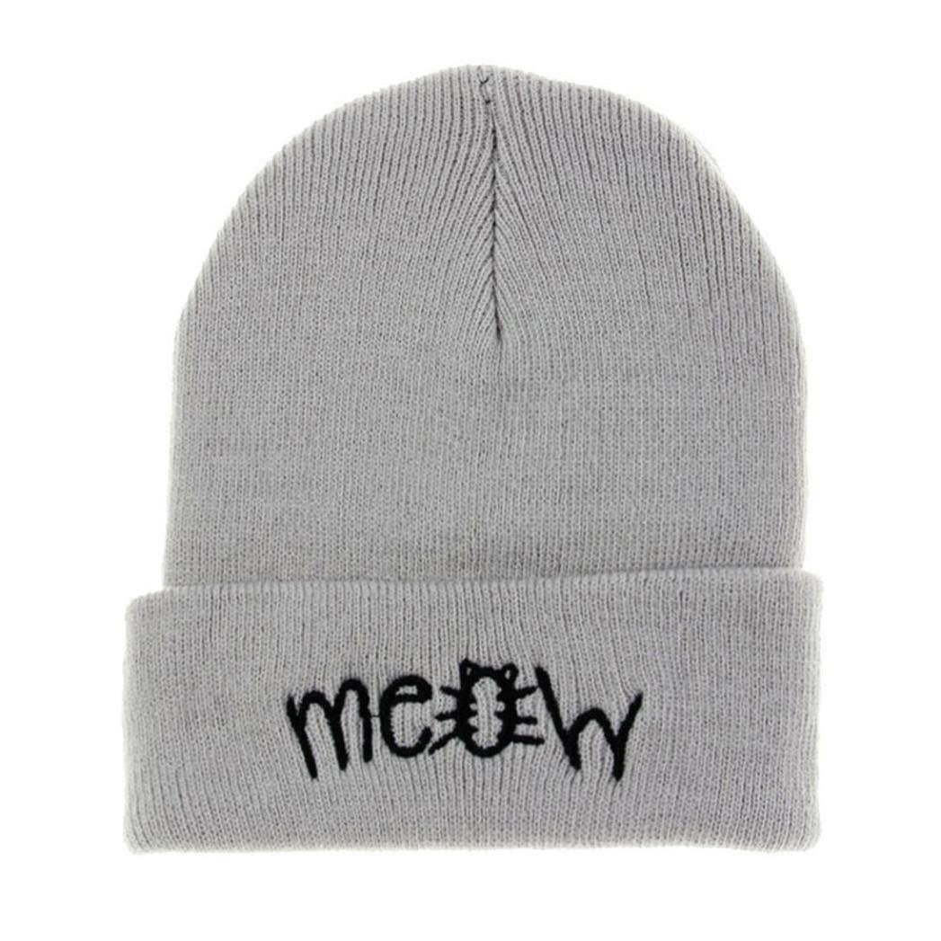 Lavany Winter Knit Meow Beanie Hat Snapback Men Women Hiphop Caps (Gray)