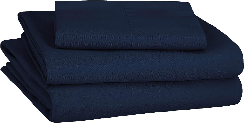 AmazonBasics Soft Microfiber Sheet Set with Elastic Pockets - Twin, Navy