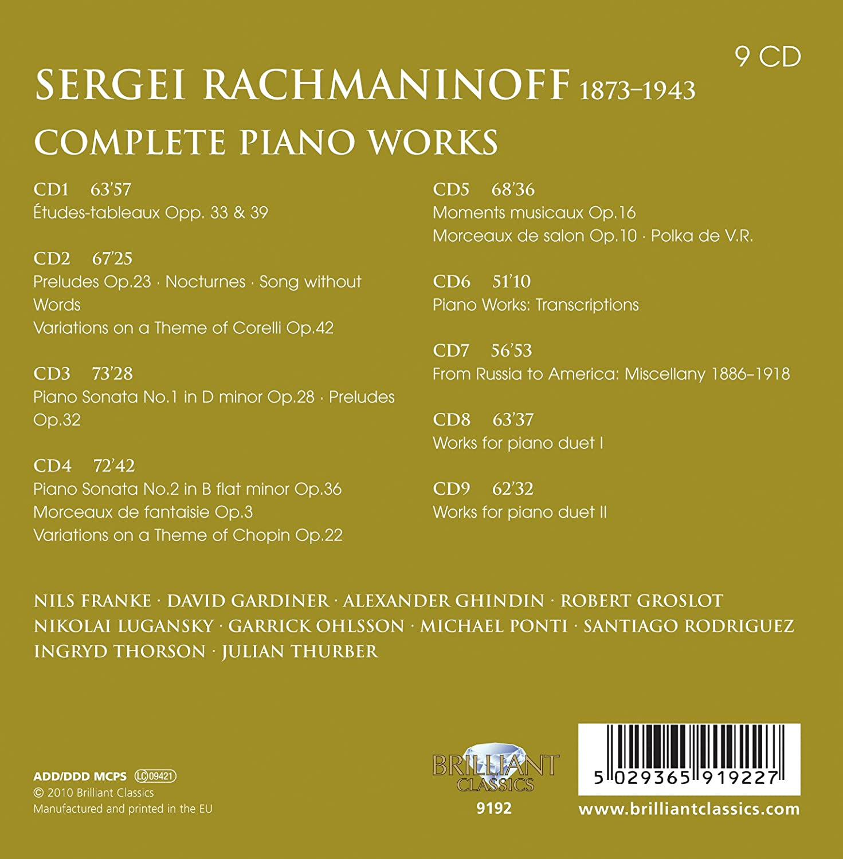 Franke, Gardiner, Ghindin, Groslot, Lugansky, Ohlsson, Ponti, Rachmaninoff  - Rachmaninoff: Complete Piano Works - Amazon.com Music