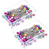 Outus Pearl Head Pins Straight Pins Mixed Colors 100 Pieces, 2 Pack