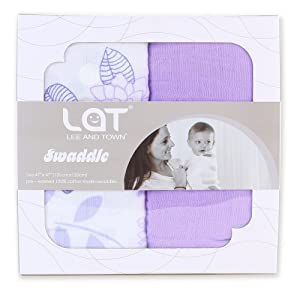 LAT LEE AND TOWN Ultra Soft Baby Swaddle Blankets,100% Cotton Muslin Blankets,47''x47'' Baby Swaddling Wrap 2 Pack Gift Set(Purple Flower)